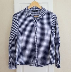 Topshop Navy Blue Gingham Checked Button Down sz.4